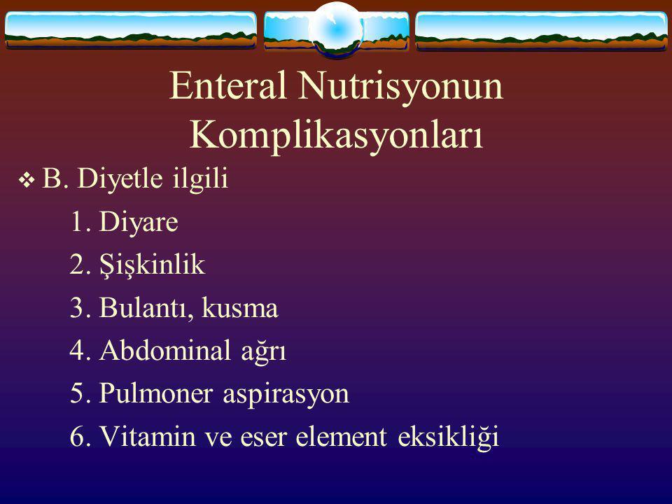 Enteral Nutrisyonun Komplikasyonları  A. Tüple ilgili 1.Uygunsuz yerleşim 2.Tıkanma 3. İstem dışı çıkması 4. Bükülme