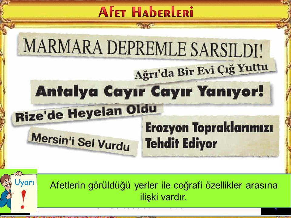 Neden Marmara'da deprem olmuş olabilir?Neden Ağrı'da çığ düşmüş olabilir?Antalya'da çığ düşme ihtimali neden azdır.