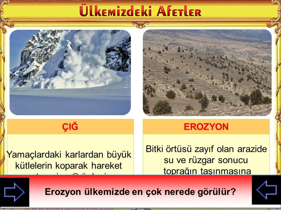 Bitki örtüsü zayıf olan arazide su ve rüzgar sonucu toprağın taşınmasına Erozyon denir EROZYON Resimde hangi afet gösterilmektedir.
