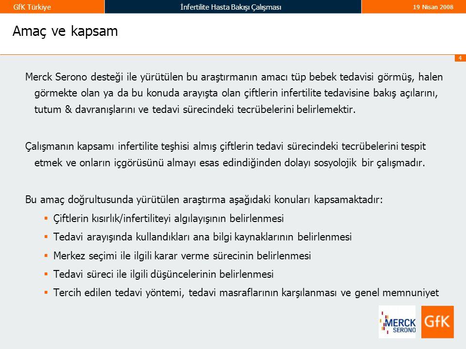 4 GfK Türkiyeİnfertilite Hasta Bakışı Çalışması 19 Nisan 2008 Amaç ve kapsam Merck Serono desteği ile yürütülen bu araştırmanın amacı tüp bebek tedavi