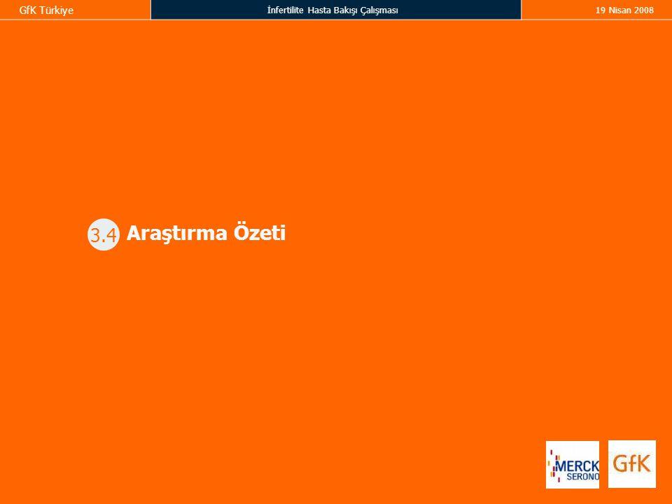 GfK Türkiye İnfertilite Hasta Bakışı Çalışması19 Nisan 2008 3.4 Araştırma Özeti