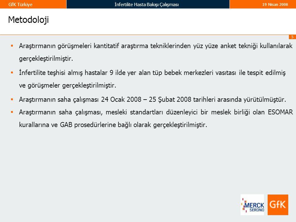 5 GfK Türkiyeİnfertilite Hasta Bakışı Çalışması 19 Nisan 2008 Metodoloji  Araştırmanın görüşmeleri kantitatif araştırma tekniklerinden yüz yüze anket