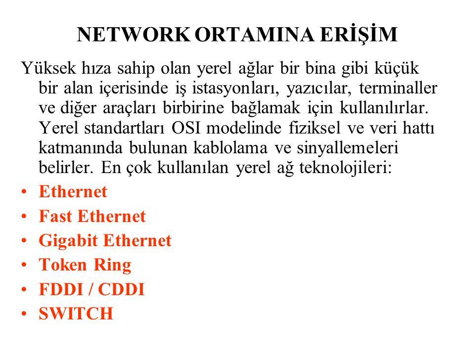 NETWORK ORTAMINA ERİŞİM Yüksek hıza sahip olan yerel ağlar bir bina gibi küçük bir alan içerisinde iş istasyonları, yazıcılar, terminaller ve diğer ar