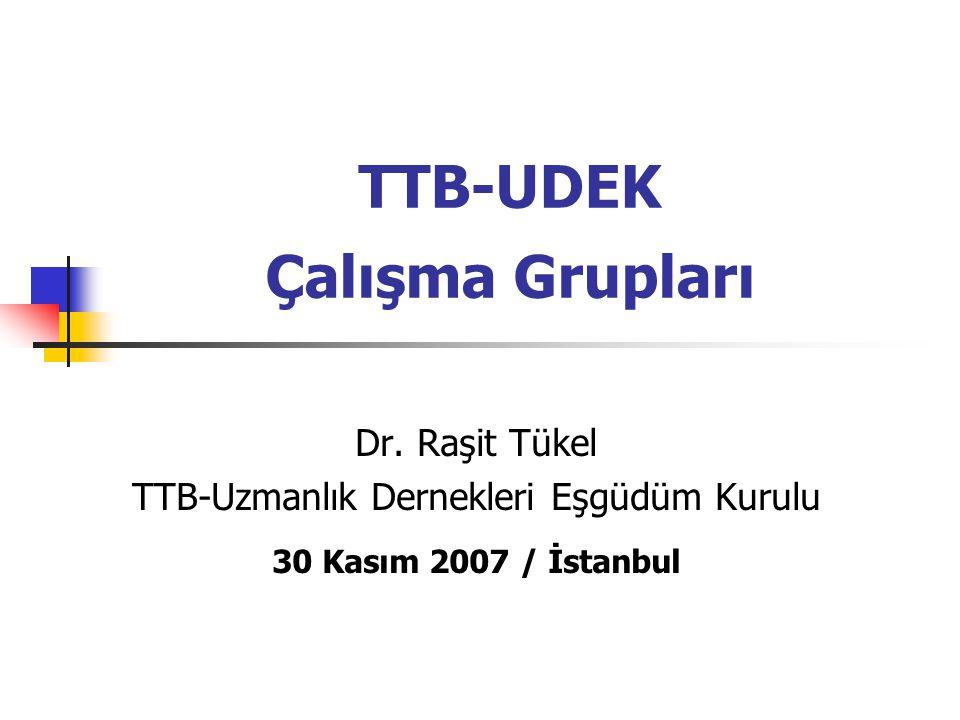 TTB-UDEK Amaçlar Topluma sunulan uzman hekimlik hizmetinin olanaklı olan en yüksek düzeye çıkarılması ve sürdürülmesi için çalışmalar yapma Ülkemizdeki uzman hekimlerin mesleki durumunu ve ünvanını ulusal ve uluslararası alanda savunma
