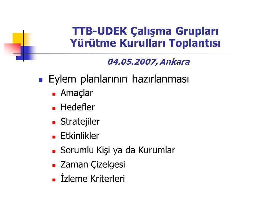 TTB-UDEK Çalışma Grupları Yürütme Kurulları Toplantısı 04.05.2007, Ankara Eylem planlarının hazırlanması Amaçlar Hedefler Stratejiler Etkinlikler Sorumlu Kişi ya da Kurumlar Zaman Çizelgesi İzleme Kriterleri