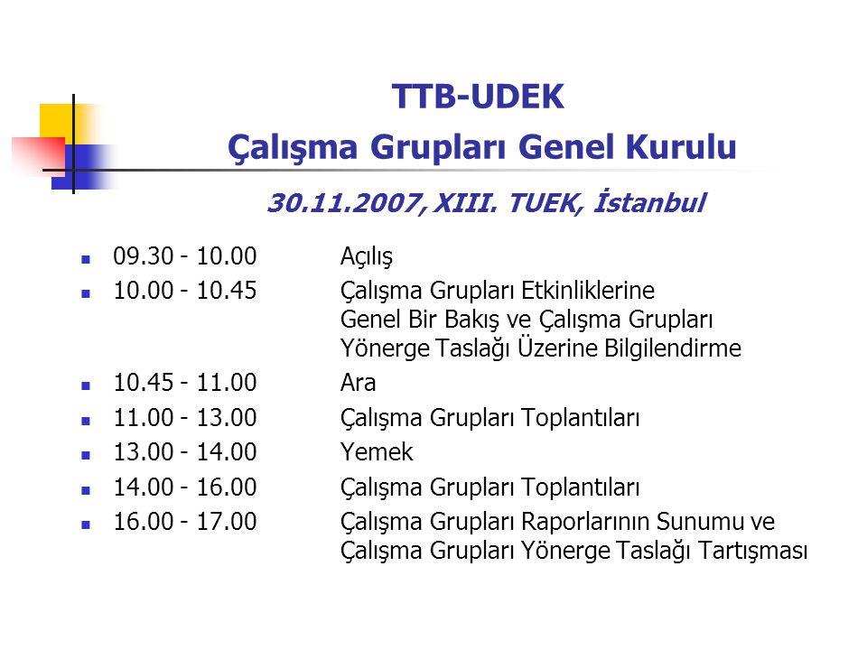 TTB-UDEK Çalışma Grupları Genel Kurulu 30.11.2007, XIII.