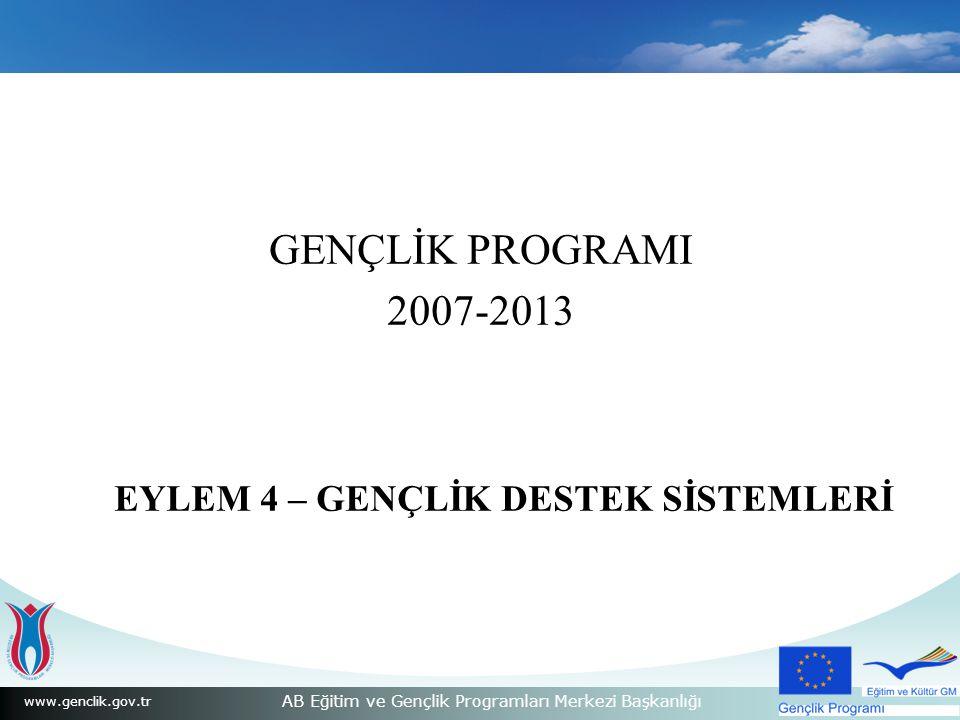 www.genclik.gov.tr AB Eğitim ve Gençlik Programları Merkezi Başkanlığı GENÇLİK PROGRAMI 2007-2013 EYLEM 4 – GENÇLİK DESTEK SİSTEMLERİ