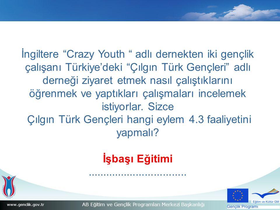 www.genclik.gov.tr AB Eğitim ve Gençlik Programları Merkezi Başkanlığı İngiltere Crazy Youth adlı dernekten iki gençlik çalışanı Türkiye'deki Çılgın Türk Gençleri adlı derneği ziyaret etmek nasıl çalıştıklarını öğrenmek ve yaptıkları çalışmaları incelemek istiyorlar.