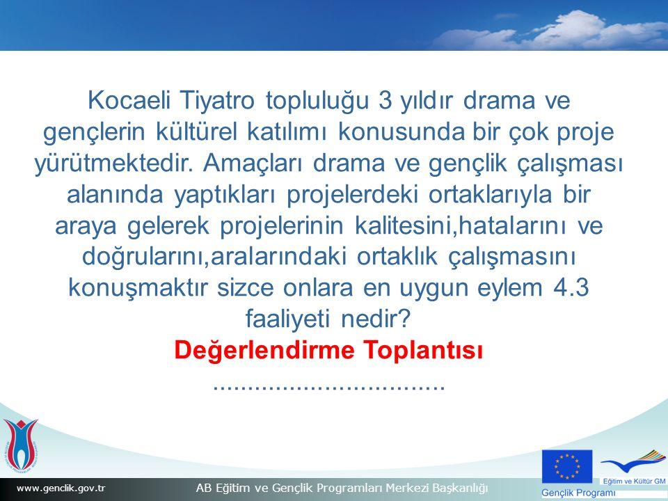 www.genclik.gov.tr AB Eğitim ve Gençlik Programları Merkezi Başkanlığı Kocaeli Tiyatro topluluğu 3 yıldır drama ve gençlerin kültürel katılımı konusunda bir çok proje yürütmektedir.
