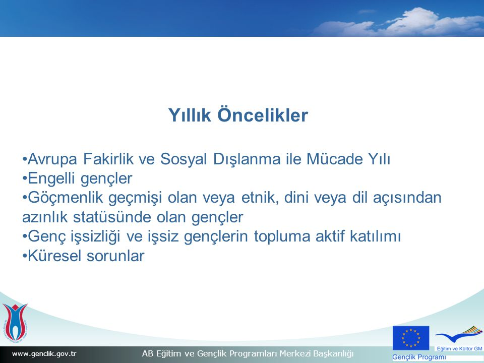 www.genclik.gov.tr AB Eğitim ve Gençlik Programları Merkezi Başkanlığı Yıllık Öncelikler Avrupa Fakirlik ve Sosyal Dışlanma ile Mücade Yılı Engelli gençler Göçmenlik geçmişi olan veya etnik, dini veya dil açısından azınlık statüsünde olan gençler Genç işsizliği ve işsiz gençlerin topluma aktif katılımı Küresel sorunlar