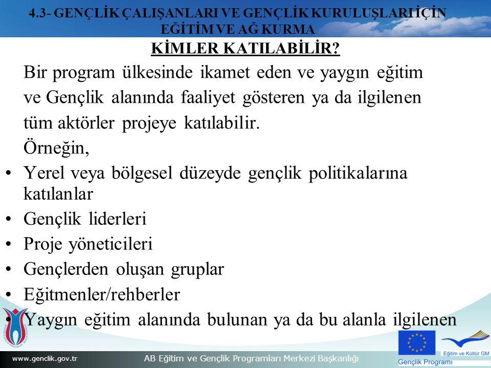 www.genclik.gov.tr AB Eğitim ve Gençlik Programları Merkezi Başkanlığı KİMLER KATILABİLİR.