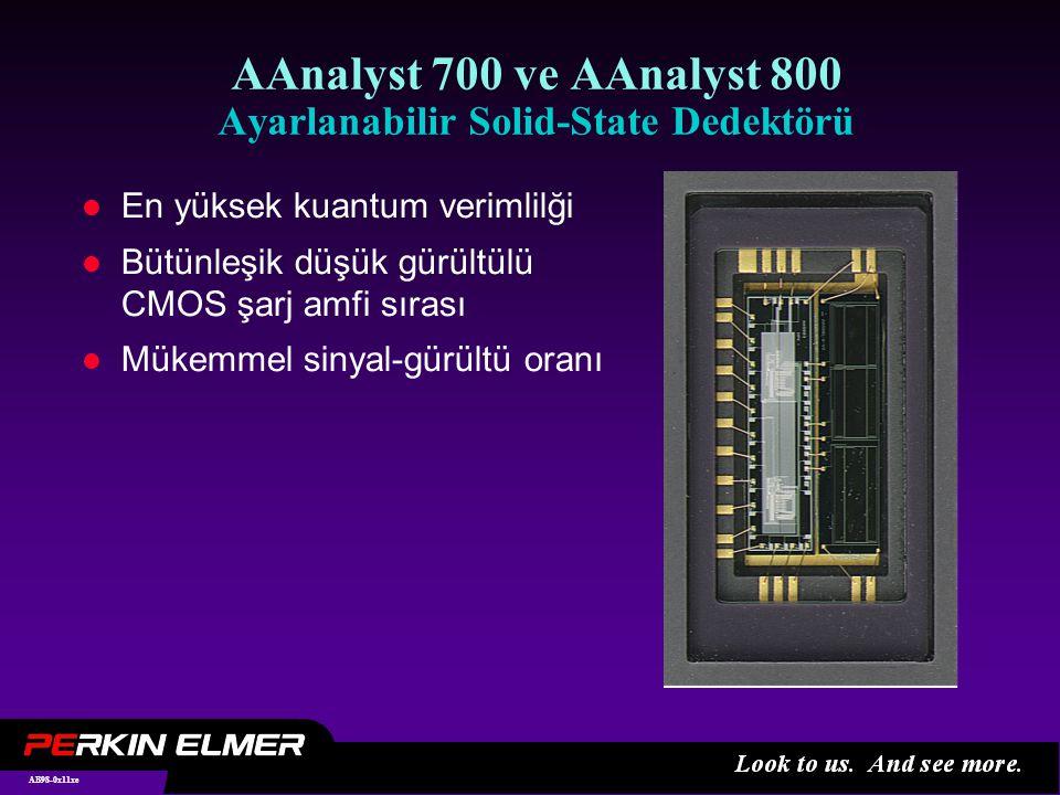 AB98-0x11xe AAnalyst 700 ve AAnalyst 800 Ayarlanabilir Solid-State Dedektörü l En yüksek kuantum verimlilği l Bütünleşik düşük gürültülü CMOS şarj amfi sırası l Mükemmel sinyal-gürültü oranı