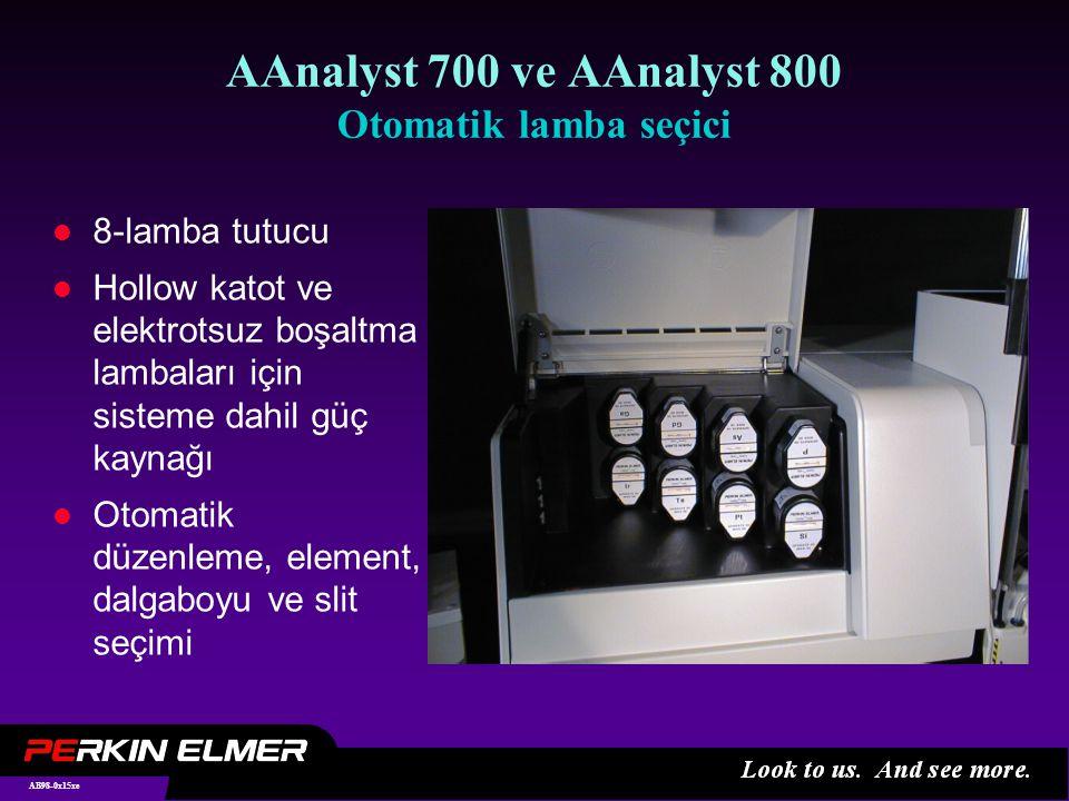 AB98-0x15xe AAnalyst 700 ve AAnalyst 800 Otomatik lamba seçici l 8-lamba tutucu l Hollow katot ve elektrotsuz boşaltma lambaları için sisteme dahil güç kaynağı l Otomatik düzenleme, element, dalgaboyu ve slit seçimi
