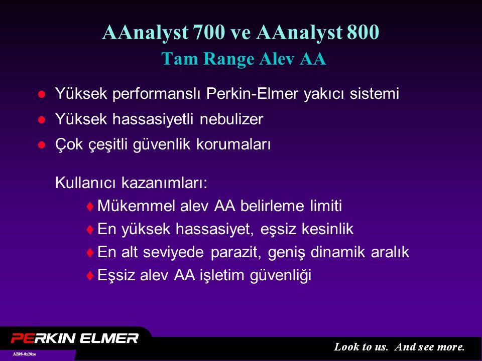 AB98-0x20xe AAnalyst 700 ve AAnalyst 800 Tam Range Alev AA l Yüksek performanslı Perkin-Elmer yakıcı sistemi l Yüksek hassasiyetli nebulizer l Çok çeşitli güvenlik korumaları Kullanıcı kazanımları:  Mükemmel alev AA belirleme limiti  En yüksek hassasiyet, eşsiz kesinlik  En alt seviyede parazit, geniş dinamik aralık  Eşsiz alev AA işletim güvenliği