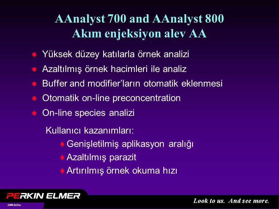 AB98-0x22xe AAnalyst 700 and AAnalyst 800 Akım enjeksiyon alev AA l Yüksek düzey katılarla örnek analizi l Azaltılmış örnek hacimleri ile analiz l Buffer and modifier'ların otomatik eklenmesi l Otomatik on-line preconcentration l On-line species analizi Kullanıcı kazanımları:  Genişletilmiş aplikasyon aralığı  Azaltılmış parazit  Artırılmış örnek okuma hızı