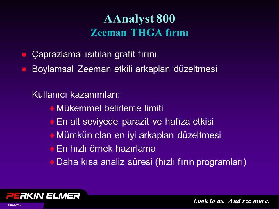 AB98-0x29xe AAnalyst 800 Zeeman THGA fırını l Çaprazlama ısıtılan grafit fırını l Boylamsal Zeeman etkili arkaplan düzeltmesi Kullanıcı kazanımları:  Mükemmel belirleme limiti  En alt seviyede parazit ve hafıza etkisi  Mümkün olan en iyi arkaplan düzeltmesi  En hızlı örnek hazırlama  Daha kısa analiz süresi (hızlı fırın programları)