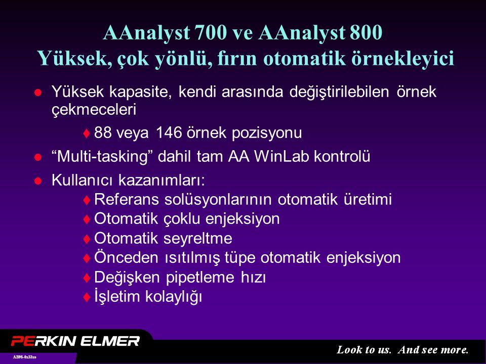 AB98-0x33xe AAnalyst 700 ve AAnalyst 800 Yüksek, çok yönlü, fırın otomatik örnekleyici l Yüksek kapasite, kendi arasında değiştirilebilen örnek çekmeceleri  88 veya 146 örnek pozisyonu l Multi-tasking dahil tam AA WinLab kontrolü l Kullanıcı kazanımları:  Referans solüsyonlarının otomatik üretimi  Otomatik çoklu enjeksiyon  Otomatik seyreltme  Önceden ısıtılmış tüpe otomatik enjeksiyon  Değişken pipetleme hızı  İşletim kolaylığı