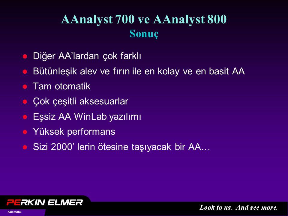 AB98-0x36xe AAnalyst 700 ve AAnalyst 800 Sonuç l Diğer AA'lardan çok farklı l Bütünleşik alev ve fırın ile en kolay ve en basit AA l Tam otomatik l Çok çeşitli aksesuarlar l Eşsiz AA WinLab yazılımı l Yüksek performans l Sizi 2000' lerin ötesine taşıyacak bir AA…