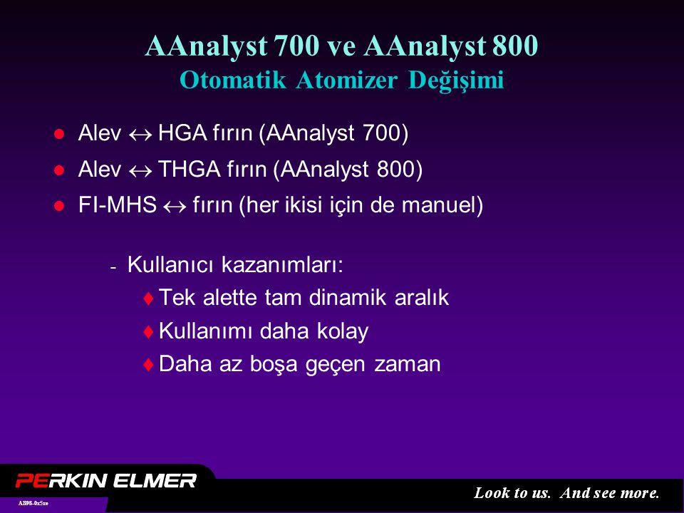 AB98-0x26xe AAnalyst 700 HGA grafit fırın l STPF teknolojisi ile bütünleşik platform tüpü STPF l Tamamen bilgisayar kontrollü l D 2 arkaplan düzeltmesi Kullanıcı kazanımları:  Kolay işletim  Rutin uygulamalar için azaltılmış kimyasal parazit ve verimli arkaplan düzeltmesi  Düşük maliyetli optimum belirleme limiti