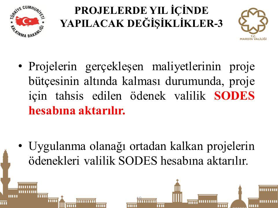 Projelerin gerçekleşen maliyetlerinin proje bütçesinin altında kalması durumunda, proje için tahsis edilen ödenek valilik SODES hesabına aktarılır. Uy