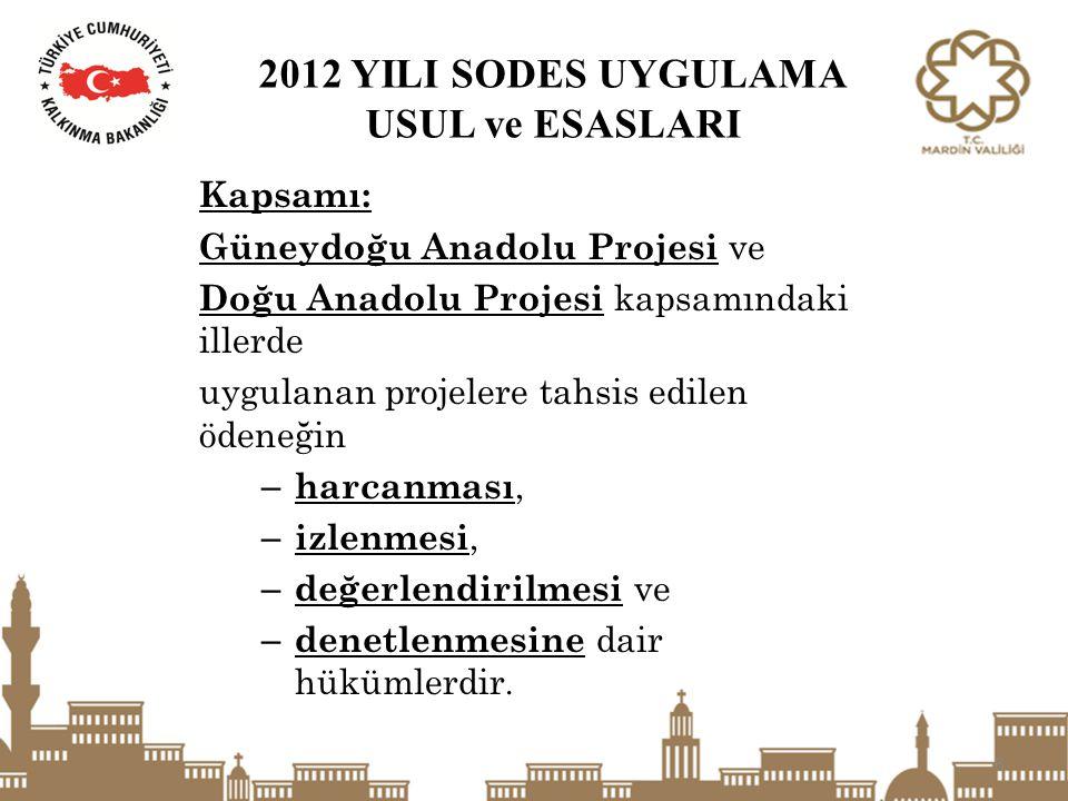 2012 YILI SODES UYGULAMA USUL ve ESASLARI Kapsamı: Güneydoğu Anadolu Projesi ve Doğu Anadolu Projesi kapsamındaki illerde uygulanan projelere tahsis e