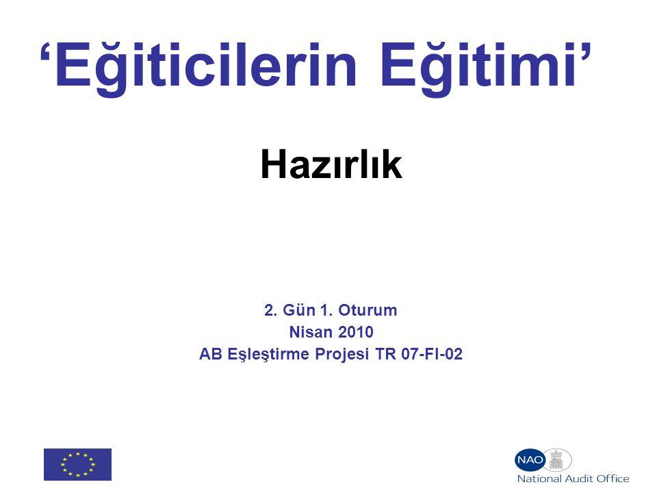 'Eğiticilerin Eğitimi' Hazırlık 2. Gün 1. Oturum Nisan 2010 AB Eşleştirme Projesi TR 07-FI-02