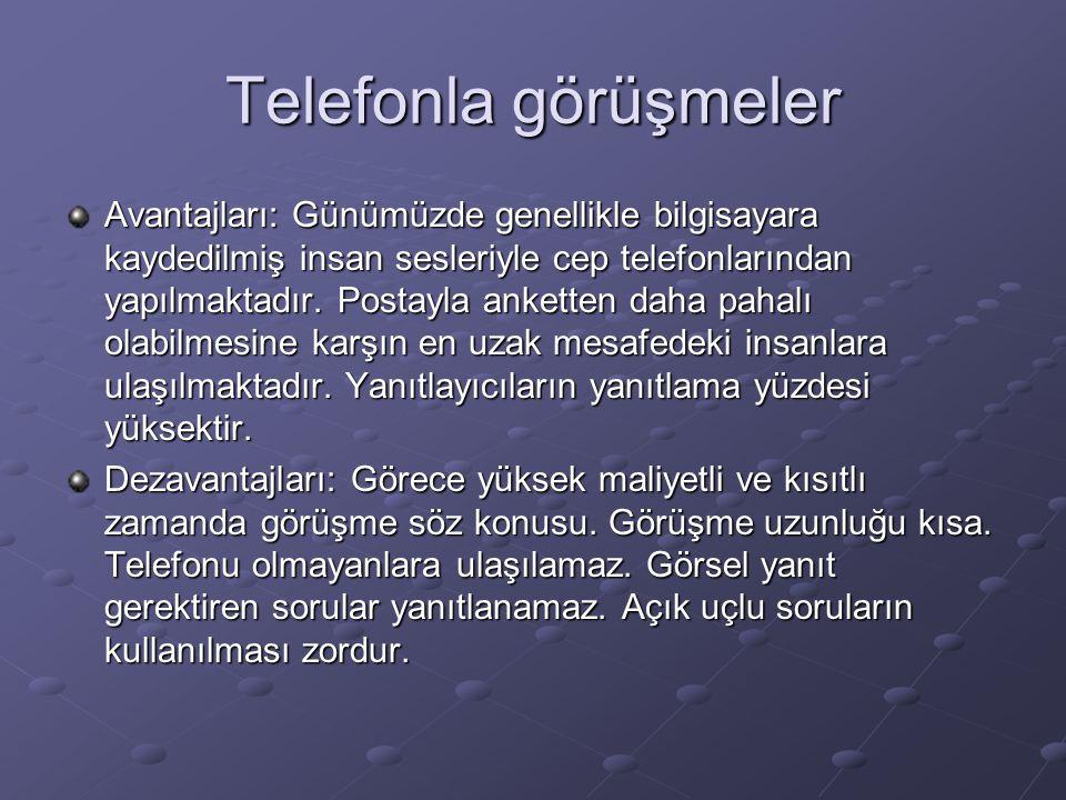 Telefonla görüşmeler Avantajları: Günümüzde genellikle bilgisayara kaydedilmiş insan sesleriyle cep telefonlarından yapılmaktadır. Postayla anketten d