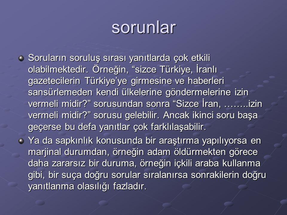 """sorunlar Soruların soruluş sırası yanıtlarda çok etkili olabilmektedir. Örneğin, """"sizce Türkiye, İranlı gazetecilerin Türkiye'ye girmesine ve haberler"""