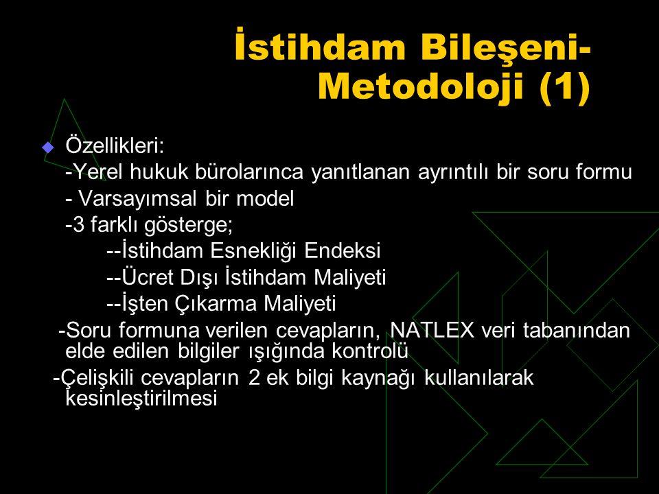 İstihdam Bileşeni- Metodoloji (1)  Özellikleri: -Yerel hukuk bürolarınca yanıtlanan ayrıntılı bir soru formu - Varsayımsal bir model -3 farklı gösterge; --İstihdam Esnekliği Endeksi --Ücret Dışı İstihdam Maliyeti --İşten Çıkarma Maliyeti -Soru formuna verilen cevapların, NATLEX veri tabanından elde edilen bilgiler ışığında kontrolü -Çelişkili cevapların 2 ek bilgi kaynağı kullanılarak kesinleştirilmesi
