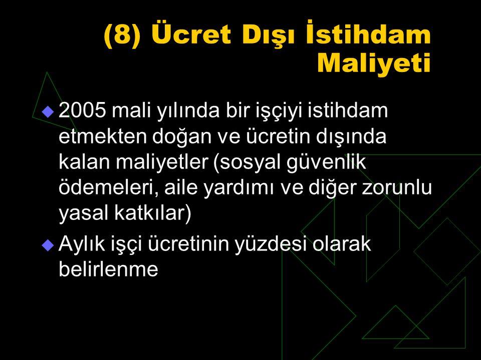 (8) Ücret Dışı İstihdam Maliyeti  2005 mali yılında bir işçiyi istihdam etmekten doğan ve ücretin dışında kalan maliyetler (sosyal güvenlik ödemeleri, aile yardımı ve diğer zorunlu yasal katkılar)  Aylık işçi ücretinin yüzdesi olarak belirlenme