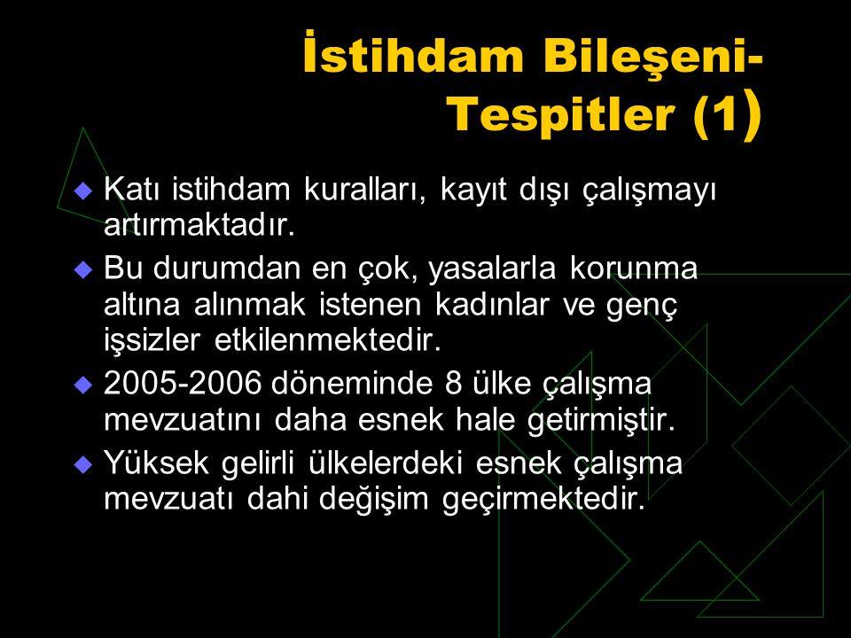 İstihdam Bileşeni- Tespitler (1 )  Katı istihdam kuralları, kayıt dışı çalışmayı artırmaktadır.