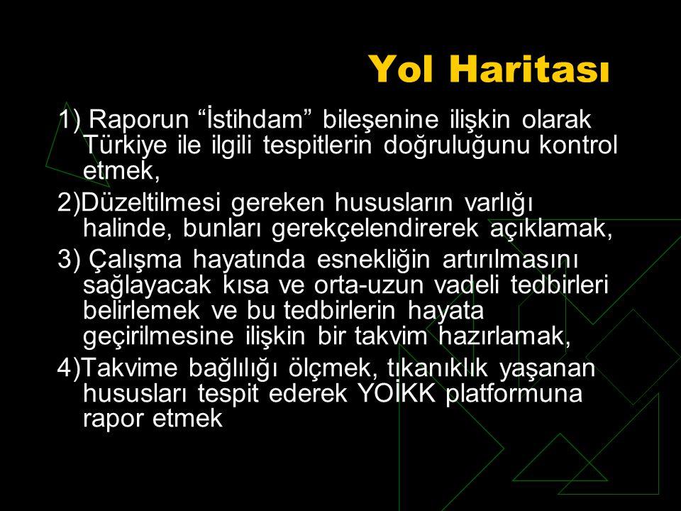Yol Haritası 1) Raporun İstihdam bileşenine ilişkin olarak Türkiye ile ilgili tespitlerin doğruluğunu kontrol etmek, 2)Düzeltilmesi gereken hususların varlığı halinde, bunları gerekçelendirerek açıklamak, 3) Çalışma hayatında esnekliğin artırılmasını sağlayacak kısa ve orta-uzun vadeli tedbirleri belirlemek ve bu tedbirlerin hayata geçirilmesine ilişkin bir takvim hazırlamak, 4)Takvime bağlılığı ölçmek, tıkanıklık yaşanan hususları tespit ederek YOİKK platformuna rapor etmek