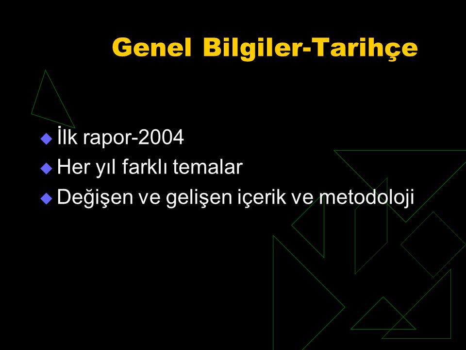 Genel Bilgiler-Tarihçe  İlk rapor-2004  Her yıl farklı temalar  Değişen ve gelişen içerik ve metodoloji