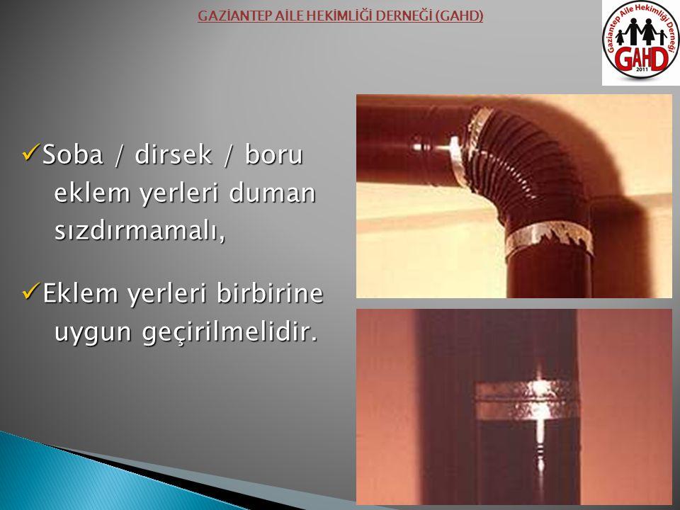 Soba / dirsek / boru Soba / dirsek / boru eklem yerleri duman eklem yerleri duman sızdırmamalı, sızdırmamalı, Eklem yerleri birbirine Eklem yerleri birbirine uygun geçirilmelidir.