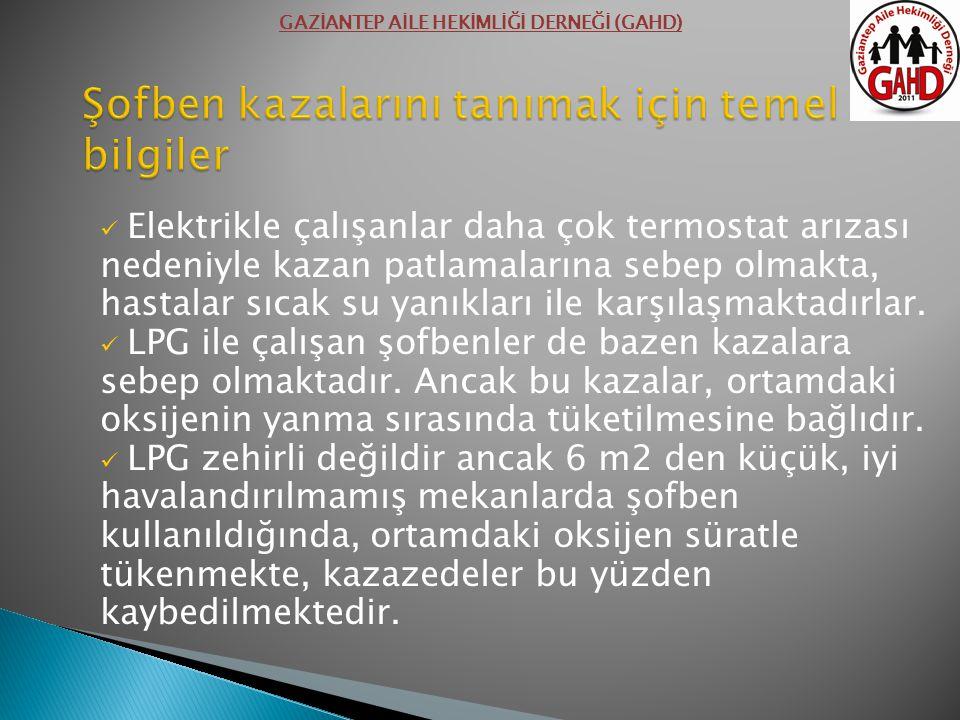 Elektrikle çalışanlar daha çok termostat arızası nedeniyle kazan patlamalarına sebep olmakta, hastalar sıcak su yanıkları ile karşılaşmaktadırlar. LPG