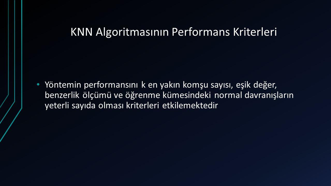 KNN Algoritmasının Performans Kriterleri Yöntemin performansını k en yakın komşu sayısı, eşik değer, benzerlik ölçümü ve öğrenme kümesindeki normal da