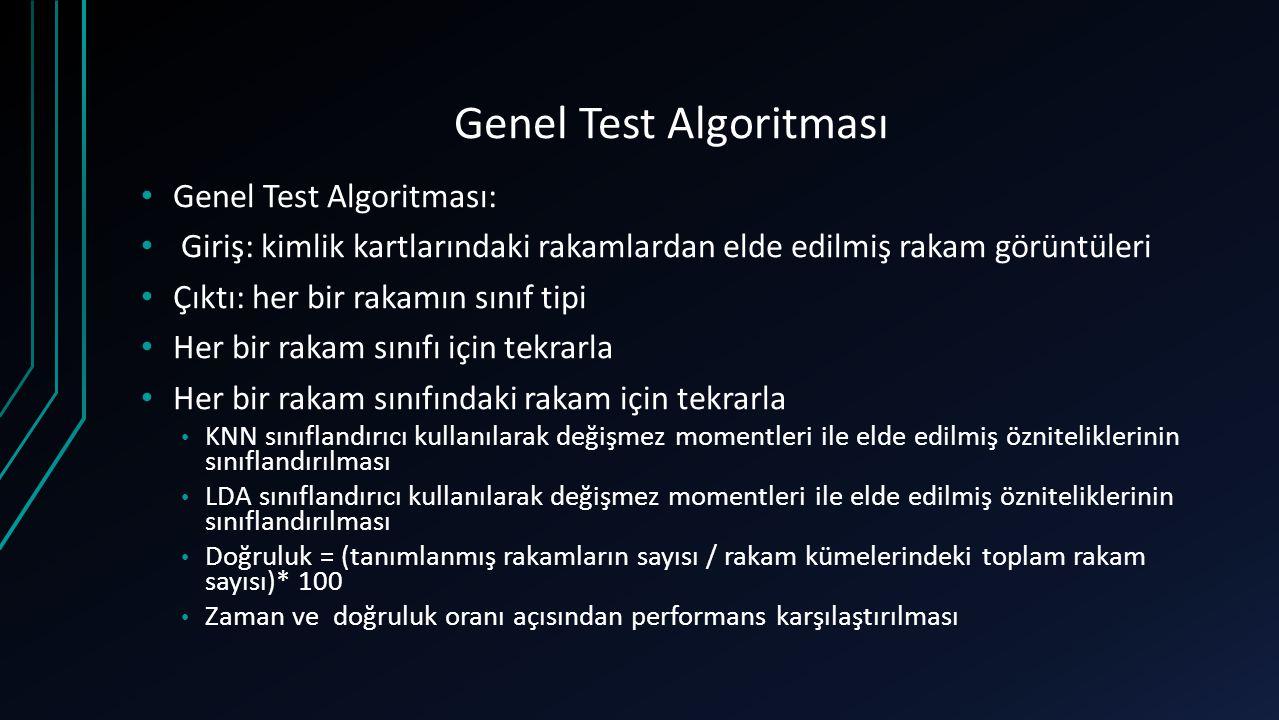 Genel Test Algoritması Genel Test Algoritması: Giriş: kimlik kartlarındaki rakamlardan elde edilmiş rakam görüntüleri Çıktı: her bir rakamın sınıf tip