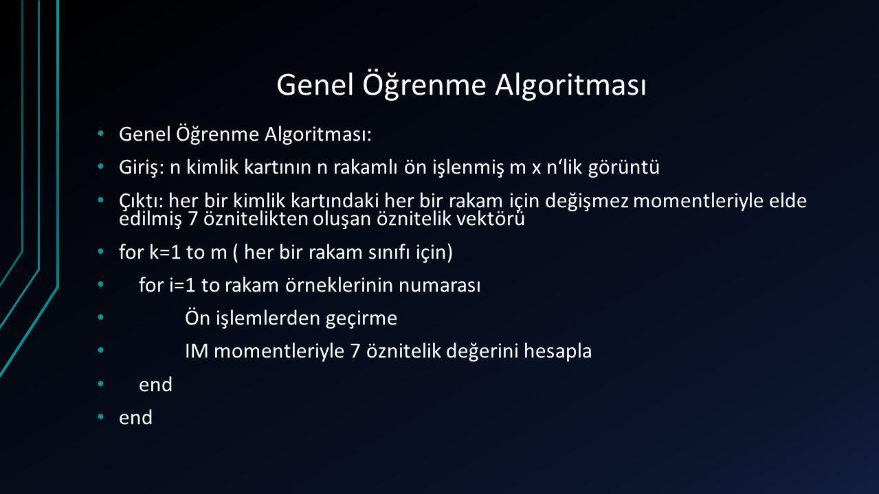 Genel Öğrenme Algoritması Genel Öğrenme Algoritması: Giriş: n kimlik kartının n rakamlı ön işlenmiş m x n'lik görüntü Çıktı: her bir kimlik kartındaki