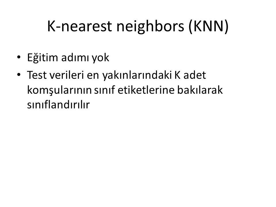 K-nearest neighbors (KNN) Eğitim adımı yok Test verileri en yakınlarındaki K adet komşularının sınıf etiketlerine bakılarak sınıflandırılır