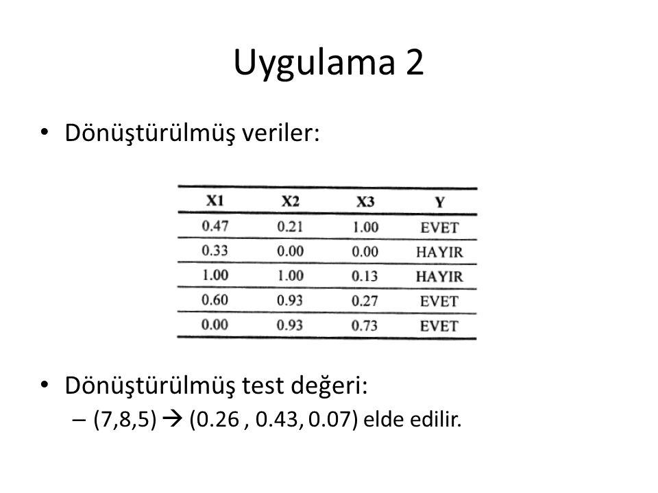 Dönüştürülmüş veriler: Dönüştürülmüş test değeri: – (7,8,5)  (0.26, 0.43, 0.07) elde edilir.