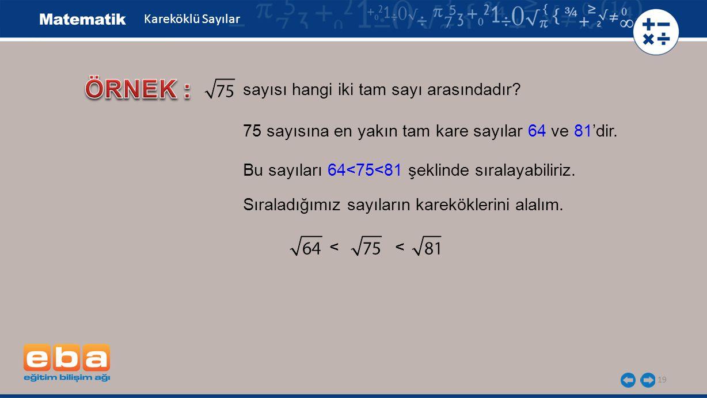 19 Kareköklü Sayılar sayısı hangi iki tam sayı arasındadır.