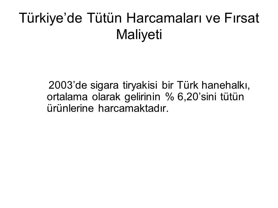 Türkiye'de Tütün Harcamaları ve Fırsat Maliyeti 2003'de sigara tiryakisi bir Türk hanehalkı, ortalama olarak gelirinin % 6,20'sini tütün ürünlerine harcamaktadır.
