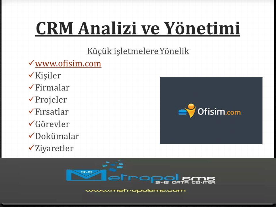 CRM Analizi ve Yönetimi Küçük işletmelere Yönelik www.ofisim.com Kişiler Firmalar Projeler Fırsatlar Görevler Dokümalar Ziyaretler