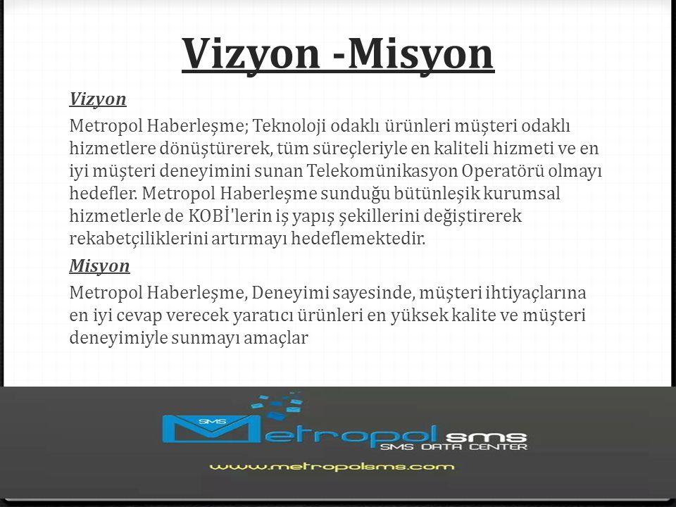 Vizyon -Misyon Vizyon Metropol Haberleşme; Teknoloji odaklı ürünleri müşteri odaklı hizmetlere dönüştürerek, tüm süreçleriyle en kaliteli hizmeti ve en iyi müşteri deneyimini sunan Telekomünikasyon Operatörü olmayı hedefler.