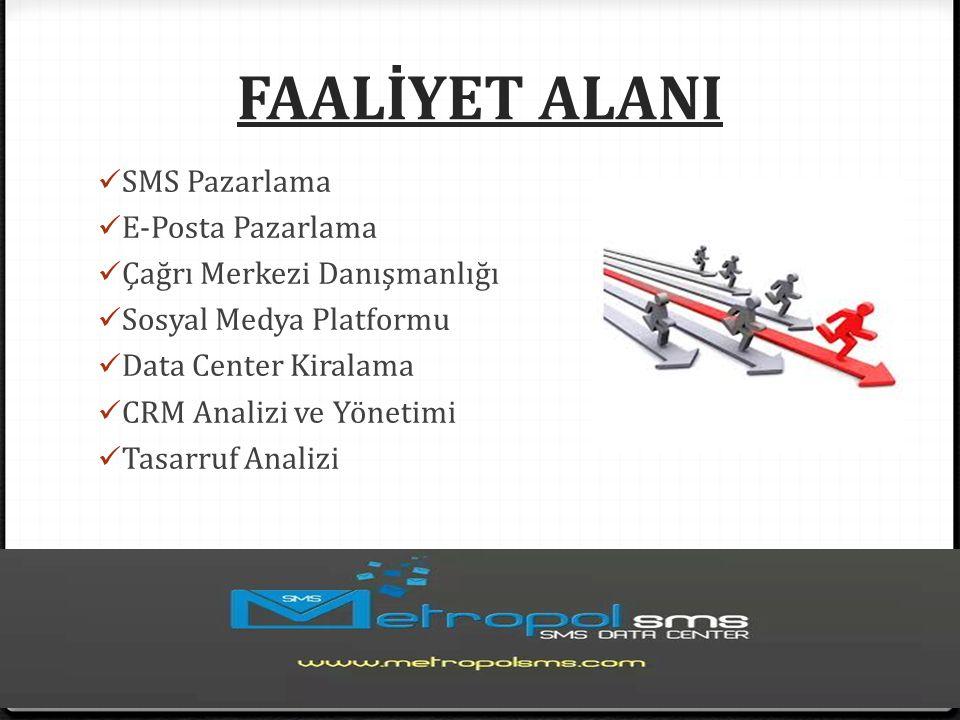 FAALİYET ALANI SMS Pazarlama E-Posta Pazarlama Çağrı Merkezi Danışmanlığı Sosyal Medya Platformu Data Center Kiralama CRM Analizi ve Yönetimi Tasarruf