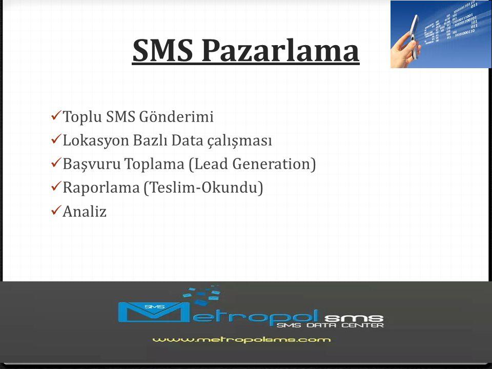 SMS Pazarlama Toplu SMS Gönderimi Lokasyon Bazlı Data çalışması Başvuru Toplama (Lead Generation) Raporlama (Teslim-Okundu) Analiz