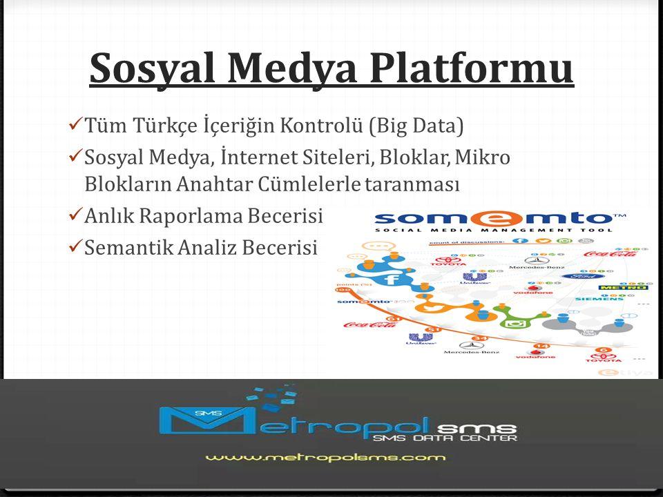 Sosyal Medya Platformu Tüm Türkçe İçeriğin Kontrolü (Big Data) Sosyal Medya, İnternet Siteleri, Bloklar, Mikro Blokların Anahtar Cümlelerle taranması