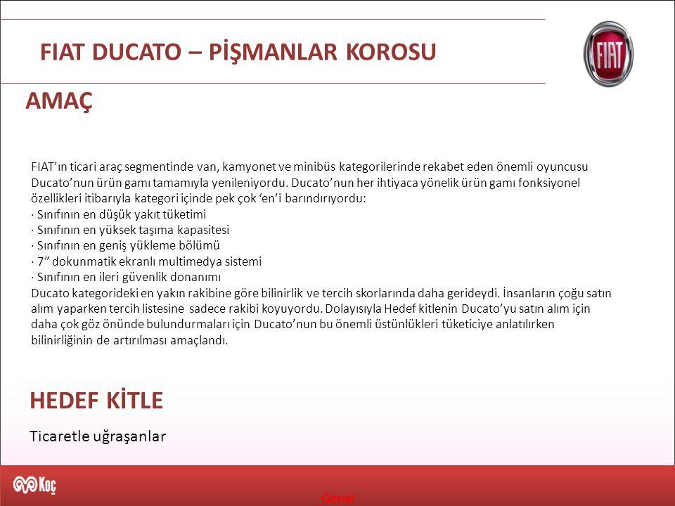 Genel FIAT DUCATO – PİŞMANLAR KOROSU FIAT'ın ticari araç segmentinde van, kamyonet ve minibüs kategorilerinde rekabet eden önemli oyuncusu Ducato'nun