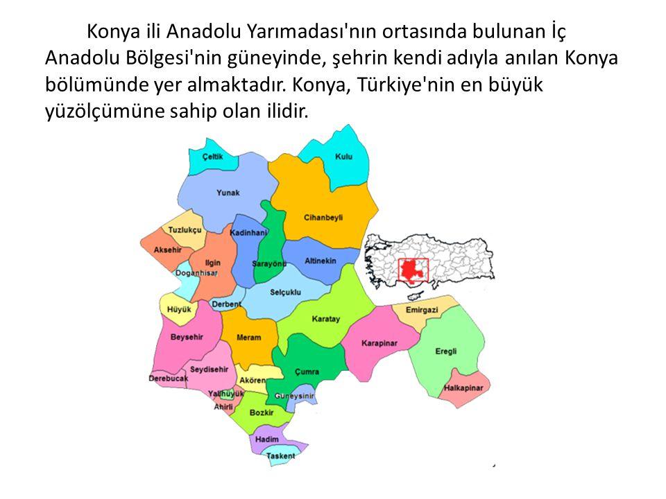 Konya ili Anadolu Yarımadası'nın ortasında bulunan İç Anadolu Bölgesi'nin güneyinde, şehrin kendi adıyla anılan Konya bölümünde yer almaktadır. Konya,