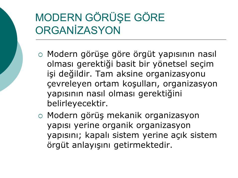 MODERN GÖRÜŞE GÖRE ORGANİZASYON  Modern görüşe göre örgüt yapısının nasıl olması gerektiği basit bir yönetsel seçim işi değildir. Tam aksine organiza
